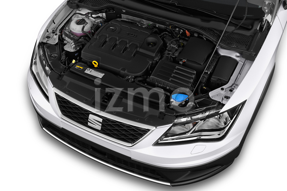 Car stock 2017 Seat Leon Xperience Base 5 Door Wagon engine high angle detail view