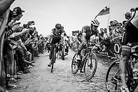 Jasper Stuyven (BEL/Trek-Segafredo) & Greg Van Avermaet (BEL/BMC) at Carrefour de l'arbre<br /> <br /> 116th Paris-Roubaix (1.UWT)<br /> 1 Day Race. Compiègne - Roubaix (257km)