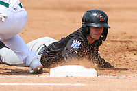 Quad Cities River Bandits shortstop Nick Loftin (2) dives back to first base during a game against the Beloit Snappers on July 18, 2021 at Pohlman Field in Beloit, Wisconsin.  (Brad Krause/Four Seam Images)