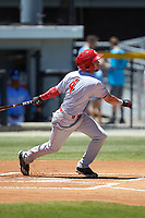 Claudio Finol (4) of the Greeneville Reds follows through on his swing against the Burlington Royals at Burlington Athletic Stadium on July 8, 2018 in Burlington, North Carolina. The Royals defeated the Reds 4-2.  (Brian Westerholt/Four Seam Images)