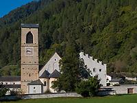 Kloster St. Johann, Müstair im Val Müstair-Münstertal, Engadin, Graubünden, Schweiz, Europa, UNESCO Welterbe<br /> Benedictine monastery in Müstair, Val Müstair-Münster Valley, Engadine, Grisons, Switzerland, UNESCO heritage site
