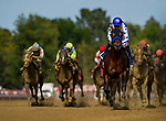 SARATOGA SPRINGS, NY - AUGUST 26: Drefong #10, ridden by Mike Smith wins the Forego Stakes at Saratoga Race Course on August 26, 2017 in Saratoga Springs, New York.(Photo by Alex Evers/Eclipse Sportswire/Getty Images)
