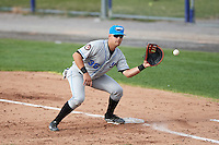 Hudson Valley Renegades first baseman Nathaniel Lowe (36) waits for a throw during a game against the Batavia Muckdogs on July 31, 2016 at Dwyer Stadium in Batavia, New York.  Hudson Valley defeated Batavia 4-1.  (Mike Janes/Four Seam Images)