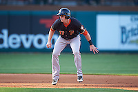 Fresno Grizzles third baseman Matt Duffy (17) leads off second during a game against the Oklahoma City Dodgers on June 1, 2015 at Chickasaw Bricktown Ballpark in Oklahoma City, Oklahoma.  Fresno defeated Oklahoma City 14-1.  (Mike Janes/Four Seam Images)