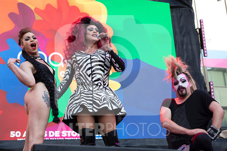 Spanish drag queen La Plexy and his dancers during the presentation of the lgtb pride party of Madrid. July 3, 2019. (ALTERPHOTOS/JOHANA HERNANDEZ)