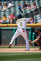 Michael Hermosillo (2) of the Salt Lake Bees bats against the Fresno Grizzlies at Smith's Ballpark on September 3, 2018 in Salt Lake City, Utah. The Grizzlies defeated the Bees 7-6. (Stephen Smith/Four Seam Images)