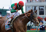 Animal Kingdom (no. 16), ridden by John Velazquez and trained by H. Graham Motion, wins the grade 1 Kentucky Derby for three year olds on May 07, 2011 at Churchill Downs in Louisville, Kentucky.  (Eclipse Sportswire)