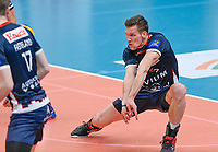 Belgian Matthijs Verhanneman of Roeselare  pictured during a Volleyball game between Knack Volley Roeselare and Greenyard Maaseik , the third game in a best of five in the play offs in the 2020-2021 season , saturday 10 th April 2020 at the Schiervelde international Sportshall in Roeselare  , Belgium  .  PHOTO SPORTPIX.BE   DAVID CATRY