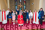 Pupils from Scoil an Fheirtéaraigh Abigail Piogóid, Shona Ní Raghaill, Niamh Ní hUalllachain, Sarah Ní hAllarain, Sean Ó Baoill, Ruadhan Ó Dalaigh, Aaron Ó Cualain, Rory Mac Pheilimi, Sadhbh Ní Shlattara, Jude Dempsey Ní Dhubhagain the day of their Confirmation, here pictured with their muinteoir Rob Mac Gearailt, prímhoide Mairín Uí Chonchúir, an tAthair Séamus Mac Ginnea, an tAthair Tomas Ó hIcí and an tAthair Eoghan Ó Cadhla at Séipéal Naomh Uinseann, Baile an Fheirtéaraigh, on Friday.