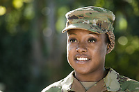 Off-duty US Army African American woman, model-released, stock photo, DoD compliant, for sale, for advertising