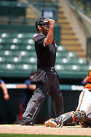 Umpire Ross Sheridan during a game between the GCL Twins and GCL Orioles on August 11, 2016 at the Ed Smith Stadium in Sarasota, Florida.  GCL Twins defeated GCL Orioles 4-3.  (Mike Janes/Four Seam Images)