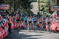 Peloton 2nd run up of the infamous Mur de Huy.<br /> <br /> 82nd La Flèche Wallonne 2018<br /> 1 Day Race: Seraing - Huy (198,5km)