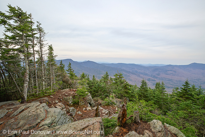 October 2014 - Scenic view from the summit of Mount Tecumseh in Waterville Valley, New Hampshire. Vandalism (illegal tree cutting) has improved the view from the summit. Forest Service verified the cutting is illegal and unauthorized.