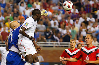 7 June 2011: Canada goalkeeper Lars Hirschfeld (1) punches the ball past USA Men's National Team forward Jozy Altidore (17) during the CONCACAF soccer match between USA MNT and Canada MNT at Ford Field Detroit, Michigan. USA won 2-0.