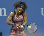 Serena Williams (USA) wins against Vitalia Diatchenko (RUS) 6-0, 2-0 when Diatchenko retires at the US Open in Flushing, NY on August 31, 2015.