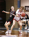 SIOUX FALLS, SD - MARCH 9: Lauren Frost #13 of the Omaha Mavericks gets tangled with Chloe Lamb #22 of the South Dakota Coyotes during the 2021 Women's Summit League Basketball Championship at the Sanford Pentagon in Sioux Falls, SD. (Photo by Richard Carlson/Inertia)