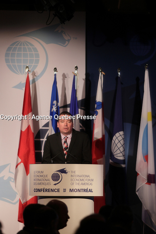 Montreal, CANADA, June, 2015  File Photo<br /> <br /> Christian Paradis, Minister of International Development and La Francophonie, ,attend the The International Economic Forum of the Americas<br /> <br /> Photo :   Pierre Roussel - AQP