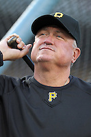 Pittsburgh Pirates manager Clint Hurdle #13 before a game against the Los Angeles Dodgers at Dodger Stadium on September 17, 2011 in Los Angeles,California. Los Angeles defeated Pittsburgh 6-1.(Larry Goren/Four Seam Images)