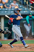 Luis Liberato (51) of the Tacoma Rainiers at bat against the Salt Lake Bees at Smith's Ballpark on May 13, 2021 in Salt Lake City, Utah. The Rainiers defeated the Bees 15-5. (Stephen Smith/Four Seam Images)