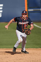 Jake Pavletich #23 of the Cal State Fullerton Titans in the field at first base against the Stanford Cardinal at Goodwin Field on February 19, 2017 in Fullerton, California. Stanford defeated Cal State Fullerton, 8-7. (Larry Goren/Four Seam Images)