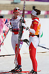Sochi, Russia.10/03/2014. Canadian Margarita Gorbounova and guide Andrea Bundon  competes in the cross country women's 15km visually impaired event at the Sochi 2014 Paralympic Winter Games in Sochi Russia. (Photo Scott Grant/Canadian Paralympic Committee)