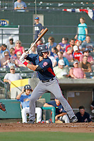 Potomac Nationals infielder David Masters (8) at bat during a game against the Myrtle Beach Pelicans at Ticketreturn.com Field at Pelicans Ballpark on July 1, 2018 in Myrtle Beach, South Carolina. Myrtle Beach defeated Potomac 6-1. (Robert Gurganus/Four Seam Images)