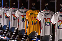 HOUSTON, TX - JUNE 10: Nike jerseys with Pride numbers sit in the USWNT locker room before a game between Portugal and USWNT at BBVA Stadium on June 10, 2021 in Houston, Texas.