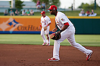 Xavier Scruggs (15) of the Springfield Cardinals takes a defensive stance during a game against the Arkansas Travelers at Hammons Field on June 12, 2012 in Springfield, Missouri. (David Welker/Four Seam Images)