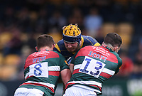 29th May 2021; Sixways Stadium, Worcester, Worcestershire, England; Premiership Rugby, Worcester Warriors versus Leicester Tigers; Matt Scott and Jasper Wiese of Leicester Tigers tackle Justin Clegg of Worcester Warriors