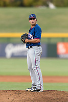 AZL Rangers relief pitcher Tyler Cohen (55) gets ready to deliver a pitch during an Arizona League playoff game against the AZL Cubs 1 at Sloan Park on August 29, 2018 in Mesa, Arizona. The AZL Cubs 1 defeated the AZL Rangers 8-7. (Zachary Lucy/Four Seam Images)