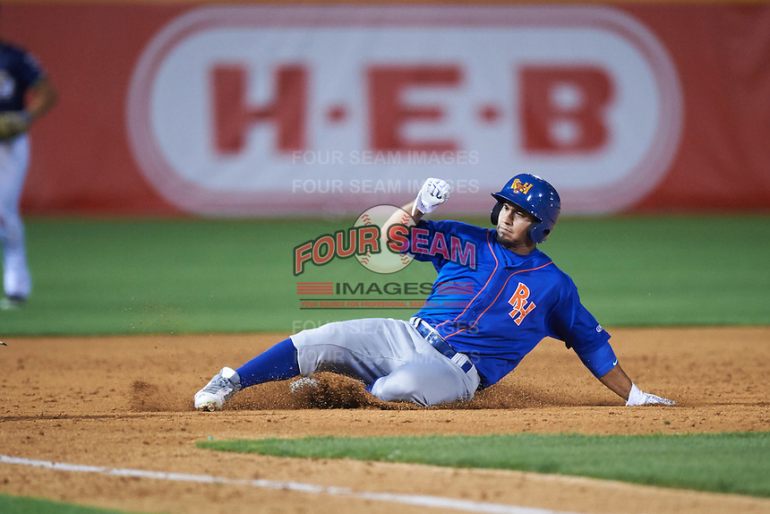 Midland RockHounds shortstop Franklin Barreto (10) slides into third during a game against the San Antonio Missions on April 21, 2016 at Nelson W. Wolff Municipal Stadium in San Antonio, Texas.  Midland defeated San Antonio 9-2.  (Mike Janes/Four Seam Images)