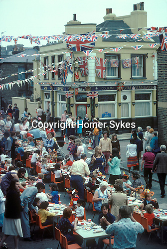 Silver Jubilee 1977. Street party Podmore Street, outside the Royal Standard public house. Wandsworth south London UK