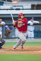 Jose Godoy (25) of the Johnson City Cardinals follows through on his swing against the Burlington Royals at Burlington Athletic Park on July 14, 2014 in Burlington, North Carolina.  The Cardinals defeated the Royals 9-4.  (Brian Westerholt/Four Seam Images)