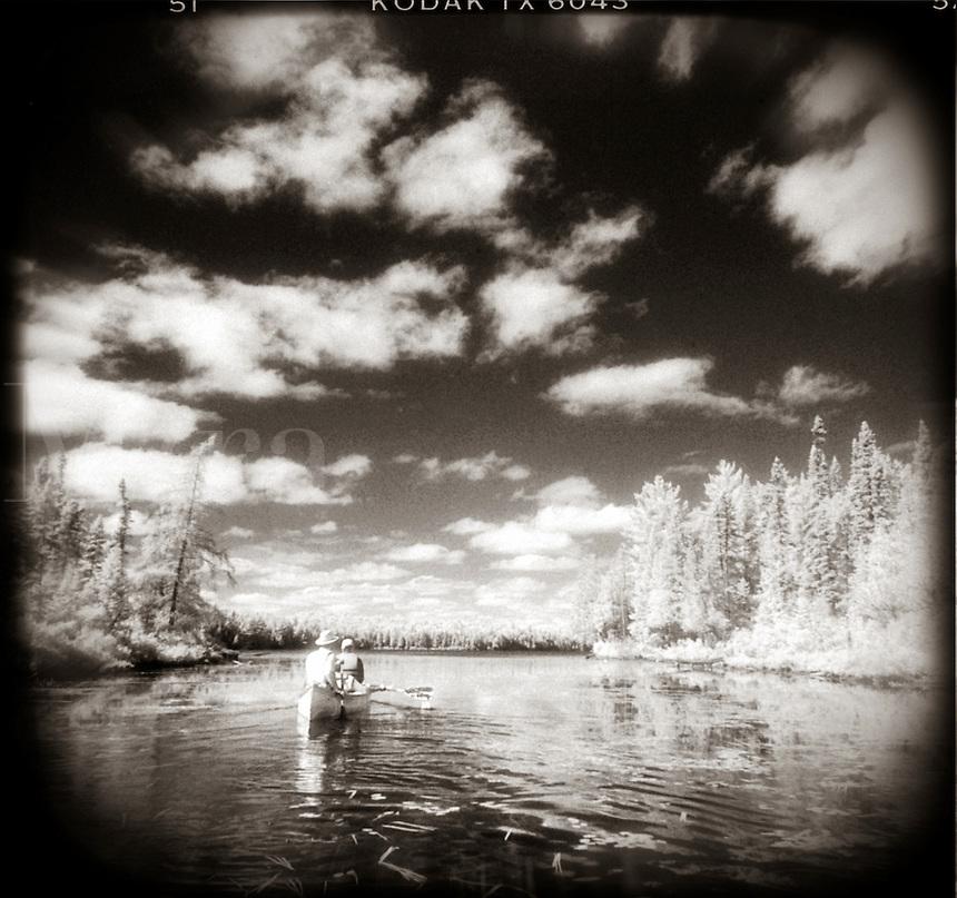 Canoeing in Algonquin Provincial Park, Ontario, Canada.