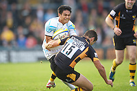 David Lemi of Worcester Warriors runs through Hugo Southwell of London Wasps during the Aviva Premiership match between London Wasps and Worcester Warriors at Adams Park on Sunday 7th October 2012 (Photo by Rob Munro)