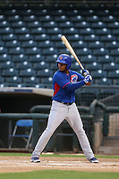 Varonex Cuevas of the AZL Cubs bats against the AZL Rangers at Surprise Stadium on July 6, 2014 in Surprise, Arizona. AZL Rangers defeated the AZL Cubs, 7-5. (Larry Goren/Four Seam Images)