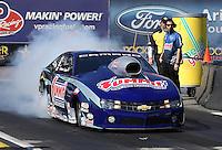Feb. 22, 2013; Chandler, AZ, USA; NHRA pro stock driver Jason Line during qualifying for the Arizona Nationals at Firebird International Raceway. Mandatory Credit: Mark J. Rebilas-