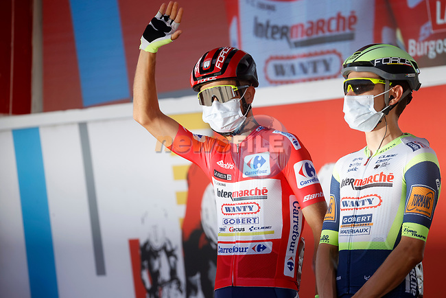 New race leader Odd Christian Eiking (NOR) Intermarché-Wanty-Gobert Matériaux at sign on before the start of Stage 12 of La Vuelta d'Espana 2021, running 175km from Jaén to Córdoba, Spain. 26th August 2021.     <br /> Picture: Luis Angel Gomez/Photogomezsport | Cyclefile<br /> <br /> All photos usage must carry mandatory copyright credit (© Cyclefile | Luis Angel Gomez/Photogomezsport)