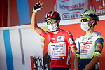New race leader Odd Christian Eiking (NOR) Intermarché-Wanty-Gobert Matériaux at sign on before the start of Stage 12 of La Vuelta d'Espana 2021, running 175km from Jaén to Córdoba, Spain. 26th August 2021.     <br /> Picture: Luis Angel Gomez/Photogomezsport   Cyclefile<br /> <br /> All photos usage must carry mandatory copyright credit (© Cyclefile   Luis Angel Gomez/Photogomezsport)
