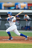 Nathan Esposito (7) of the Burlington Royals follows through on his swing against the Kingsport Mets at Burlington Athletic Stadium on July 18, 2016 in Burlington, North Carolina.  The Royals defeated the Mets 8-2.  (Brian Westerholt/Four Seam Images)