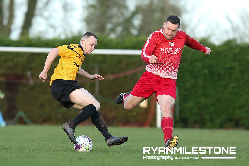 Keith Guiry of Clonmel Town in action against Paul McCarthy of Two Mile Borris during the Tipperary Cup 1st Round game between Two Mile Borris and Clonmel Town  on Sunday 9th December 2018 at Newhill, Two Mile Borris Co Tipperary. Mandatory Credit: Michael P Ryan.