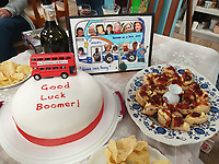 BNPS.co.uk (01202 558833)<br /> Pic: PennyIbbott/BNPS<br /> <br /> Pictured: Two cakes including one with the message 'Good Luck Boomer', at a party earlier this month.<br /> <br /> Second time lucky...<br /> <br /> An intrepid pensioner has restarted her mission to travel around England on her free bus pass for charity 18 months after she had to cancel due to Covid.<br /> <br /> Grandmother Penny Ibbott was 16 days into her journey in March last year when Boris Johnson announced that people should stop any non-essential travel as the pandemic hit.<br /> <br /> The 75-year-old was devastated to call it off after months of planning, but has not let it beat her and has now set off to do the whole route again.