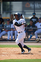 GCL Yankees East right fielder Jesus Severino (33) follows through on a swing during a game against the GCL Blue Jays on August 2, 2018 at Yankee Complex in Tampa, Florida.  GCL Yankees East defeated GCL Blue Jays 5-4.  (Mike Janes/Four Seam Images)