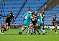 21st August 2020; Ricoh Arena, Coventry, West Midlands, England; English Gallagher Premiership Rugby, Wasps versus Worcester Warriors; Tom Cruse of Wasps is tackled by Cornell Du Preez of Worcester Warriors during the Gallagher Premiership Rugby match between Wasps and Worcester Warriors at Ricoh Arena