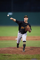 West Virginia Black Bears relief pitcher Adam Oller (38) delivers a pitch during a game against the Batavia Muckdogs on June 26, 2017 at Dwyer Stadium in Batavia, New York.  Batavia defeated West Virginia 1-0 in ten innings.  (Mike Janes/Four Seam Images)