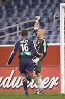 Matt Reis celebrates a PK save late in the game. NE Revolution defeat Columbus Crew, 1-0, at Gillette Stadium.