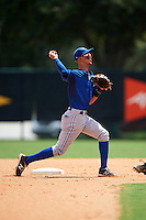 GCL Blue Jays second baseman Kevin Vicuna (1) throws to first during a game against the GCL Braves on August 5, 2016 at ESPN Wide World of Sports in Orlando, Florida.  GCL Braves defeated the GCL Blue Jays 9-0.  (Mike Janes/Four Seam Images)