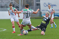 Stephanie Van Gils (27) of Eendracht Aalst and Sara Yuceil (13) of OHL pictured during a female soccer game between Standard Femina de Liege and Eendracht Aalst on the 12 th matchday of the 2020 - 2021 season of Belgian Scooore Womens Super League , saturday 30 th of January 2021 in Angleur , Belgium . PHOTO SPORTPIX.BE | SPP | STIJN AUDOOREN