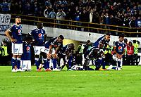 BOGOTÁ - COLOMBIA, 02-09-2018: Los jugadores de Millonarios (COL), durante partido de vuelta entre Millonarios (COL) y el Independiente Santa Fe (COL), de los octavos de final, llave A por la Copa Conmebol Sudamericana 2018, en el estadio Nemesio Camacho El Campin, de la ciudad de Bogotá.  / The players of Millonarios (COL), during a match of the second leg between Millonarios (COL) and Independiente Santa Fe (COL), of the eighth finals, key A for the Conmebol Sudamericana Cup 2018 in the Nemesio Camacho El Campin stadium in Bogota city. Photo: VizzorImage / Luis Ramírez / Staff.