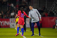 CARSON, CA - FEBRUARY 7: Christen Press #20 talks with United States head coach Vlatko Andonovski during a game between Mexico and USWNT at Dignity Health Sports Park on February 7, 2020 in Carson, California.